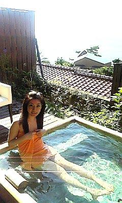 朝から露天風呂♪